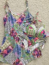 3 Piece Set Victoria Secret 32DD Tease Bali Patchwork S bikini M Cover-up Romper