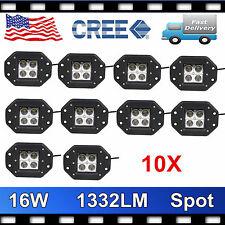 """10X 5""""IN 16W Flush mount offroad LED light Bar Spot Beam Wrangler 4x4 PODS Truck"""