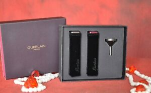 GUERLAIN, 2 LUXURY TRAVEL PARFUME ATOMIZERS WITH FUNNEL, EMPTY, New in Box