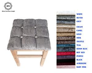 Dressing Table Stool Crushed Velvet Cubed Design Diamond Upholstered 15 Colours