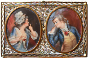 19th C. Miniature: Secret Lovers - Catherine the Great - Filigree & Pearls Frame