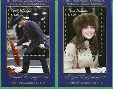 COOK ISLANDS #1360 -61 Souvenir Sheet Set 2010 ROYAL ENGAGEMENT  - 05&06