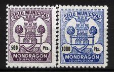 ESPAÑA. año1937. 2 SELLOS DE-500-Y DE 1000.DE MONDRAGON.  DE LUJO..