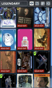 Star Wars Card Trader Lot Of 12 Legendary Cards Low CC 5 Watto Kylo Ren Wow!