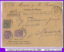 54814 - REGNO: UMBERTO I - STORIA POSTALE: BUSTA con tariffa 1,65 Lire  1894