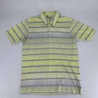 Adidas Climacool Mens Golf Shirt Size S Polo Short Sleeve Yellow White Stripe N8