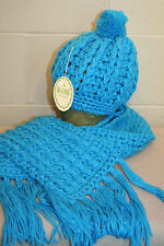 NOS VTG 70s 2pc BLUE SCARF POM STOCKING HAT CAP KNIT WARMO WINTER SKI SNOW SET