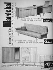 PUBLICITÉ 1957 V.MARÉCHAL RAMOS BAHUT SALLE DE SÉJOUR STEINER CANAPÉ - DEVEVEY