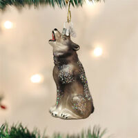 Howling Wolf Glass Ornament