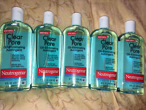 5 x Neutrogena Clear Pore Oil-Eliminating Acne Face Astringent 8 oz Exp 2023