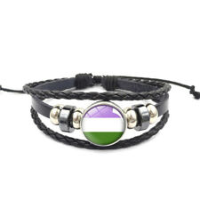 Gender Queer Adjustable Leather & Glass Cabochon Wristband