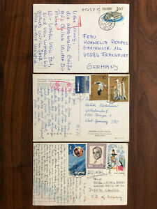 3 X CHINA OLD POSTCARD COLLECTION LOT T110 J112 J113 PEKING TO GERMANY 1980S !!
