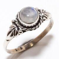 Rainbow Moonstone Gemstone Handmade Ethinc 925 Sterling Silver Ring Size 8 R-77