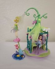 (6775) Disney Fairies Tinker Bell Canopy Bed Play Set Playmates 2006 + 2 Dmg Toy
