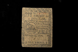 Continental Currency Fugio Note-  February 17, 1776 $1/3-  Fine/Very Fine