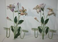 Wall Art Set of 2 Pastel Metal Flowers Candle Holder Sconces