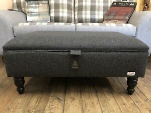 Large Harris Tweed Footstool  Ottoman Black And Grey