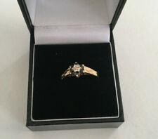 Beautiful 9ct Gold Sapphire & Diamond Ring - Claw setting - Hallmarked - Size O