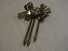 Beautiful Brooch Pin BrassTone Clear Rhinestones Faux Pearls Dangling Chains