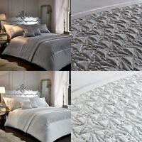 Zenia Shimmer Sequins Duvet Cover/Quilt Cover Set Bedding Range Silver/White
