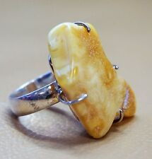 AMBER SILVER RING FREE FORM RAW BUTTERSCOTCH AMBER RING SIZE 6.5 UNIQUE GIFT