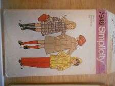 SIMPLICITY VINTAGE SEWING PATTERN 7948 GIRLS COATS