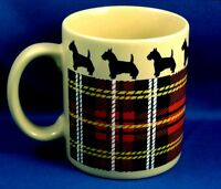 Scotty Dog Mug Cup Red Plaid Tartan Scottish Terrier Xmas Stocking Gift Idea