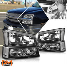 For 03-06 Chevy Silverado/Avalanche Bumper Headlight/Lamps Clear Corner Black