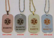 Gold, Silver or Copper Tone Diabetes Diabetic Alert Tag - Dark Engraving