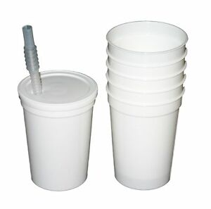 48-12 Oz White Plastic Drinking Glasses Lids Straws Made in America Lead Free