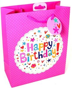 Gift Bags Birthday Mothers Day Mum Party Girls Adult Female Present - Pink