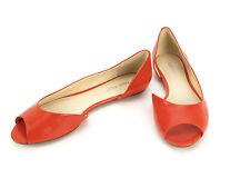 NEW Nine West Bachloret Orange Leather Open Toe Side Flats Shoes 7.5M New