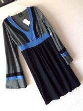 NWT ELLA MOSS S COLORBLOCK DRESS Knit RAYON Blue Gray Black Empire Shift BELL 6