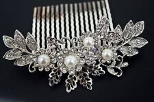 USA seller  beautiful elegant wedding flower bridal hair comb pearl and crystal