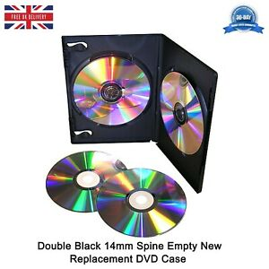 Double Black 14mm Spine Face on Face New Empty Replacement DVD Case High Quality