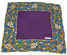 "Authentic Vtg TIFFANY & CO ""T DESIGN"" Silk Scarf Purple w/ Blue & Yellow Border"
