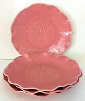 "Metlox Poppytrail Lotus Rose SET of 4 Dinner Plates 10.75""diam Embossed Pink EUC"