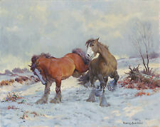 Heavy Horses in Snow, Christmas cards pack of 10 by Rosemary Welch. C492X