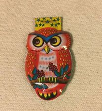 Vintage Japan Tin Lithographed Owl Clicker Kids Toy Halloween Litho Noise Maker