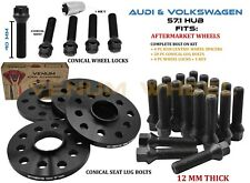 5x100 5x112 Audi Volkswagen 57.1 HubBore Wheel Spacer Lug Bolt Kit + Wheel Locks