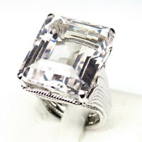 Topaz White Octangon Ring Size 6.25 Jewelry 50.90Ct. 925 Sterling Silver Jewelry