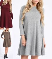 NEW WOMENS LADIES KNITTED LONG SLEEVE SWING SKATER WINTER JUMPER DRESS SIZE 8-14