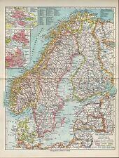 Landkarte map 1934: Skandinavien und Finnland. Finland Ostsee Nordsee Norwegen