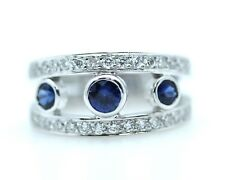 Diamond and Sapphire Ring 18k W.G with 0.54ct Diamonds + 0.64ct Sapphires