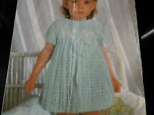 "Knitting Pattern with Crochet Children Baby Girl Dress 4 Ply wool 21-23"" Vintage"