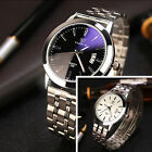 Mens Date Stainless Steel Band Quartz Sport Analog Wrist Watch