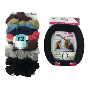 Scunci 11 Pack of Scrunchies Hair Bows and Night Waves Headband Curls
