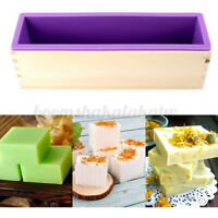 Wooden Rectangle Silicone Soap Mold Box Loaf Cake Maker Handmade DIY Food