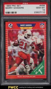 1989 Pro Set Football Barry Sanders ROOKIE RC #494 PSA 10 GEM MINT