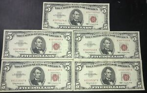 Lot Of Five Red Seal 1963 $5 Notes